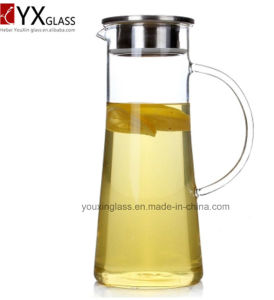 OEM and ODM Cold Tea Juice Milk Glass Jars/Clear Glass Water Jug with Side Handle and Lid for Cold Drinks/Glass Water Pitcher Kittle Pot