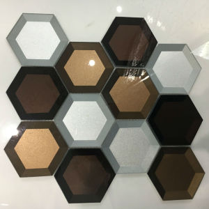 Newesf Colorful Edged Hexagon Glass Mosaic Tile pictures & photos