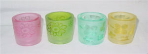 Cylinder Clear Colorful Glass Candle Holder/Cup (DRL06070) pictures & photos