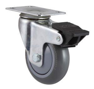Dual Brake Threaded Stem PU Caster pictures & photos