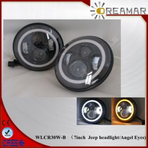 7inch 30W CREE LED Jeep Headlight with Angel Eyes-Hi/Low Beam pictures & photos