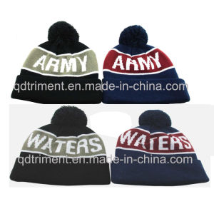 Top Quality Jacquard Stripes Acrylic Cuff POM Knitted Beanie (TMK0190) pictures & photos