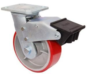 Swivel PU on Cast Iron Caster with Dual Brake (Red) pictures & photos