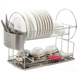Full Stainless Steel Two Tier Kitchen Dinnerware Plate Dish Rack pictures & photos
