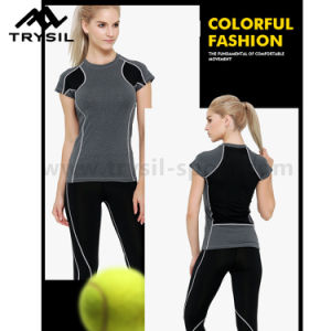 Lady Sport T Shirt Women Gym Shirts Fitness Tops pictures & photos
