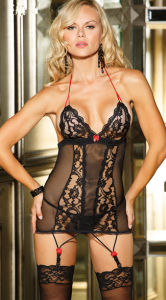 Lace and Mesh Garter Chemise Lingerie