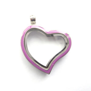 30mm Zinc Alloy Smooth Memory Glass Floating Charms Heart Locket
