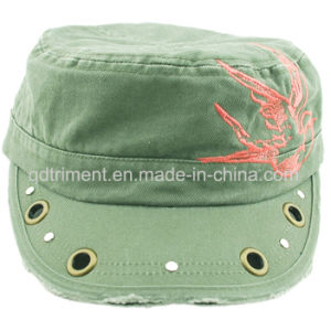 Grinding Washed Grommet Rivet Decoration Embroidery Army Military Cap (CSCM9452) pictures & photos