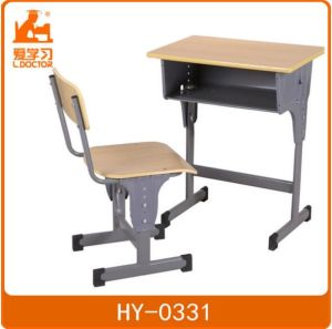 Single Adjustable School Desk with Attached Chair pictures & photos