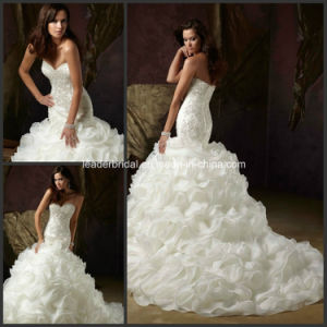 Strapless Bridal Ball Gowns Beading Organza Wedding Dress Yao117 pictures & photos
