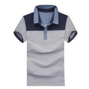 china high quality stiff collar grey cotton plain polo