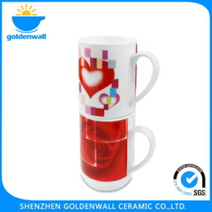 Customized Logo Red Stackable Porcelain Coffee Mug pictures & photos