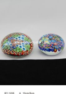 Color Printing Flower Crystal Paperweight with High Quality (BY-1208)