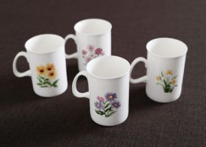Porcelain Coffee Mugs with Flowers