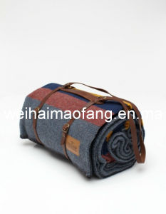 Woven Weave 100%Pure Virgin Wool Throw Travel Blanket pictures & photos