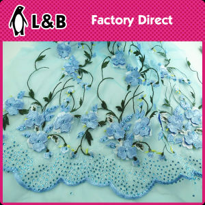 Blue Flower Embroidered Stone Lace Fabric pictures & photos
