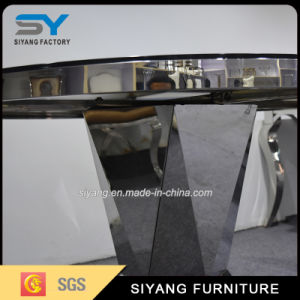 Stainless Steel Round Table Balck Glass Dining Table pictures & photos