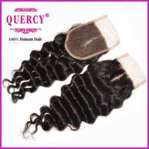 High Quality and Hot Sale Lace Closure Deep Wave 9A Peruvian Virgin Hair with Baby Hair Human Hair (CL-85D) pictures & photos