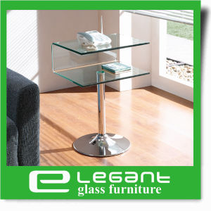 Curved Glass Night Table with High Gloss White Drawers pictures & photos