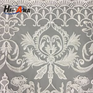 Custom Made Print Logo Cheaper White Cord Lace Fabric pictures & photos