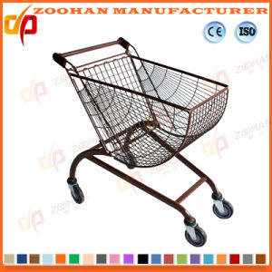 High Quality Arc Shape Metal Supermarket Shopping Cart Trolley (ZHt283) pictures & photos