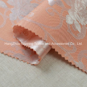 Yarn Dyed Jacquard Woven 100% Polyester Satin Jacquard Curtain Fabric pictures & photos