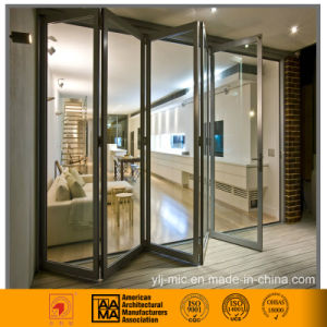 Aluminum/Double-Glazed Glass Bi-Folding Door (Elegant Silver) pictures & photos