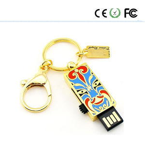 China Facebook USB 2.0 Flash Memory Gold Metal Pendrive pictures & photos