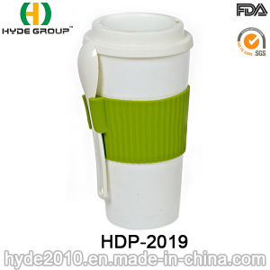 Double Wall Plastic Coffee Mug with Spoon (HDP-2019) pictures & photos