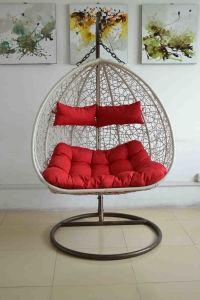Patio Outdoor Aluminum Rattan Wicker Double Hanging Chair