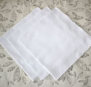 Plain White Cotton Fabric Linen Embroidery Wedding Handkerchief pictures & photos