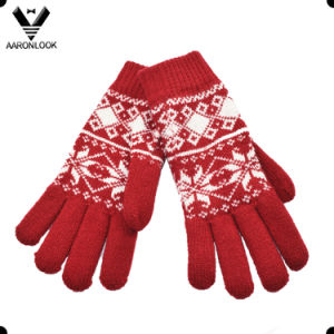 Women Fashion Acrylic Snowflake Pattern Jacquard Glove pictures & photos