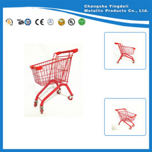 Red Small Size Supermarket Trolley Cart Plasic Spraying Cart for Children
