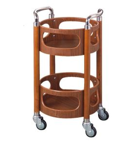 Two-Layer Round Wooden Liquor Trolley with Stainless Armrests (C-75) pictures & photos