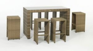 Outdoor Garden Patio Rattan Wicker Outdoor Bar Chair Set
