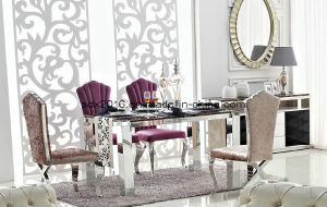 Dining Room Furniture Rectangle Stainless Steel Base Luxury Dining Table Set pictures & photos