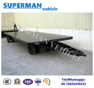 4t Flatbed Cargo Transport Industrial Drawbar Full Trailer pictures & photos