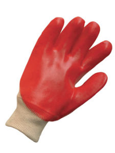 Red PVC Knit Wrist Chemical Glove (5110) pictures & photos