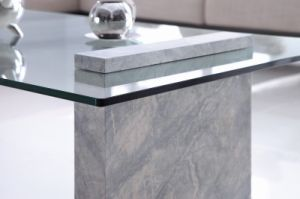 Clear Bent Glass Coffee Table with Grey Chou-Heung Veneer pictures & photos