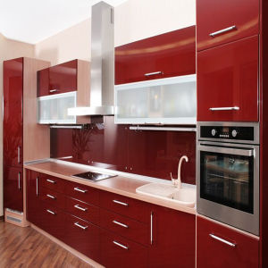 Wine Red Modern Glossy Acrylic Kitchen Cabinet (ZH-K35) pictures & photos
