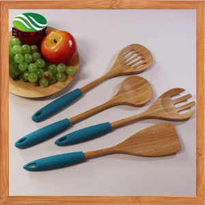 Colorful Silicone Handle Bamboo Cooking Spoon pictures & photos