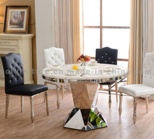 Good Quality Round Black Marble Dining Table with Chairs pictures & photos