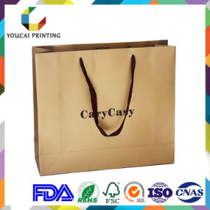 Fancy Rectangular Garments Shopping Paper Bag with Custom Gold Embossed Logo pictures & photos