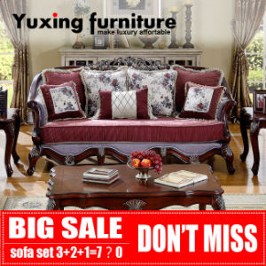 Classical Wooden Fabric Sofa for Living Room Antique Home Furniture Set pictures & photos