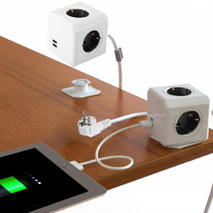 Fashion Safety Extended Wall Socket with Us Plug 4 Outlets Dual USB Ports Adapter pictures & photos