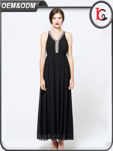 2017 New Style Halter Long Maxi Dress Woman Summer Black Chiffon Dresses pictures & photos