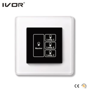 3 Gangs Lighting Switch Touch Panel with Master Control Aluminum Alloy Frame (HR1000-AL-L3M-B) pictures & photos