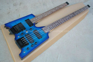 Hanhai Music/Blue Double Neck Electric Guitar and Bass Without Headstock pictures & photos