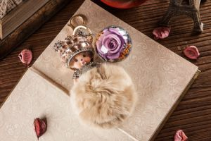 Ivenran Preserved Fresh Flower Monchhichi Keychain for Valentine′s Day Present pictures & photos
