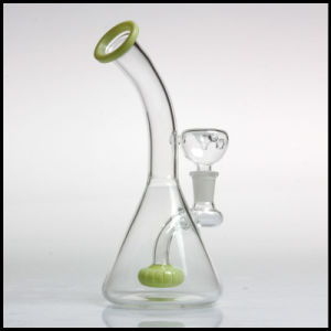 Hfy Glass Colorful Beaker Bubbler Tobacco Percolator Hookah Green Smoking Pipes Cheap Water Pipe Waterpipes Showerhead Perc pictures & photos